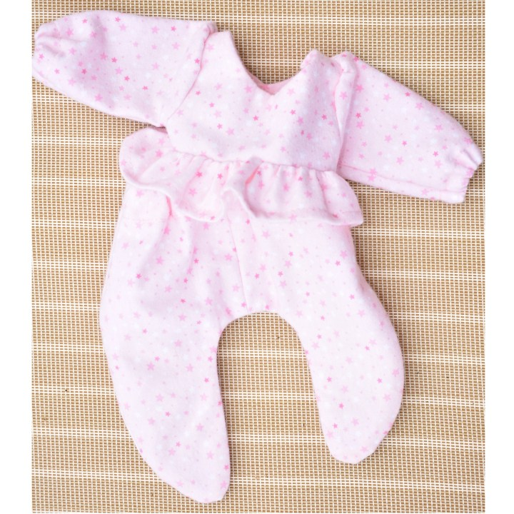 """Click on the link in the caption if you'd like to navigate to the page where you can find free doll clothes patterns and tutorial videos for making this pair of pajamas for a 12 inch baby doll. The image shows a pair of """"footie"""" pajamas for a 12 inch baby doll."""