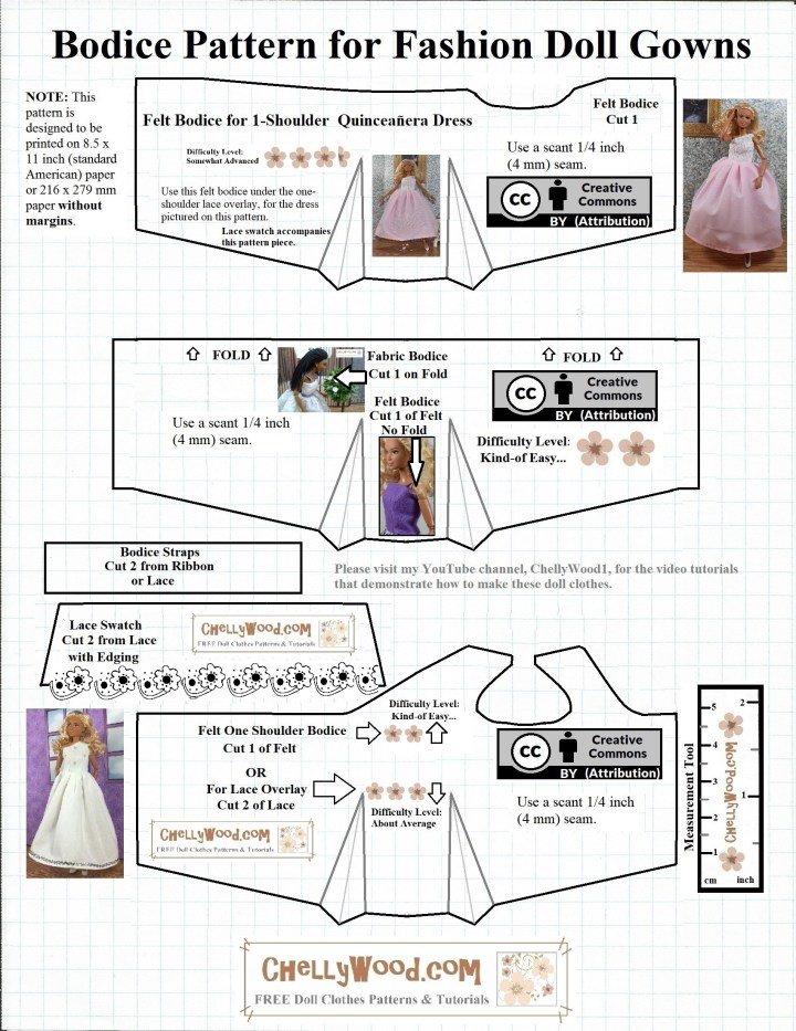The image shows a JPG line drawing of three different bodic epatterns which will fit 11 or 11.5 inch (28 cm) dolls like Barbie, Momoko, Queens of Africa, Francie, etc... The pattern page includes photos of dolls wearing the bodices as part of a dress or as a stand-alone summer shirt with straps. One of the bodices is a one-shoulder style of bodice. The overlay reminds you to visit ChellyWood.com for your free printable sewing patterns for making doll clothes to fit dolls of many shapes and all different sizes.