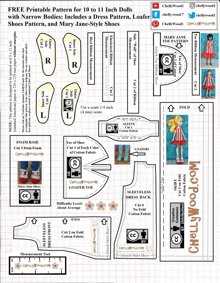 """Please visit ChellyWood.com for free printable sewing patterns for making doll clothes to fit dolls of many shapes and all different sizes. This image is a JPG version of a free printable PDF sewing pattern for making a dress with a ruffle and cap sleeves to fit many 8 inch dolls and action figures as well as some 10 inch dolls and action figures. It's attached to a page that honors Nichelle Nichols, the actress and space travel enthusiast best known for her role as Lt. Uhura on Star Trek. The pattern is designed by Chelly Wood, the doll clothes designer and entrepreneur. This pattern displays the """"creative commons attribution"""" mark, meaning that you can share it on social media, but you must tell people where you got this pattern: ChellyWood.com"""