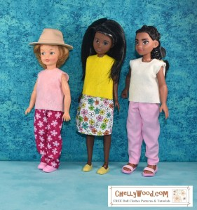 Here we see three dolls that stand 8 inches, nine inches, and ten inches tall. They are a vintage Pepper doll (far left), a Creatable World doll (center), and a Disney Moana doll (far right). Each of them wears a handmade, easy-to-sew felt shirt, which was made using a free PDF sewing pattern for doll clothes, downloaded from ChellyWood.com, a website known for its free printable doll clothes sewing patterns and tutorial videos.
