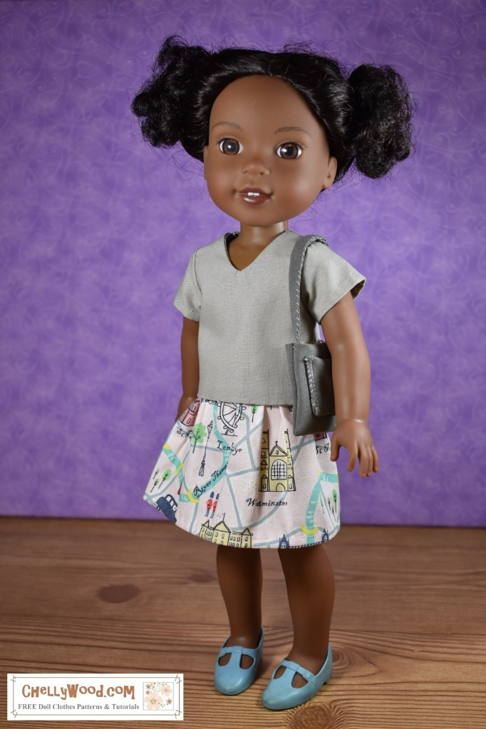 The image shows an African American Wellie Wishers doll wearing handmade doll clothes. These doll clothes include a V-neck shirt with short sleeves, a cotton skirt with elastic waist, and a purse with a single pocket in front. Would you like to sew this outfit? You can navigate to the page where these free PDF sewing patterns can be downloaded (and where you can view the free tutorial videos for making each of them) by clicking on the link in the caption.