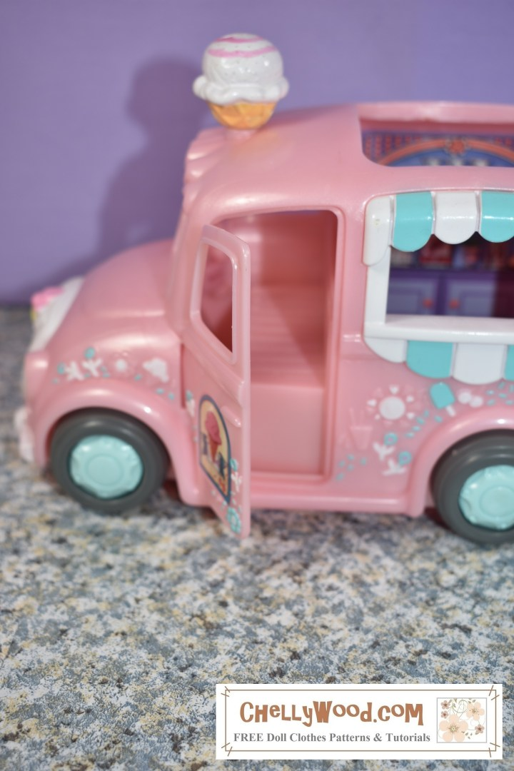 "This image shows that the door on the ""driver's side"" of the ice cream truck swings open to reveal a seat. Also, we can clearly see that there's an open window through which a doll or miniature can serve ice cream at the back of the ice cream delivery truck."