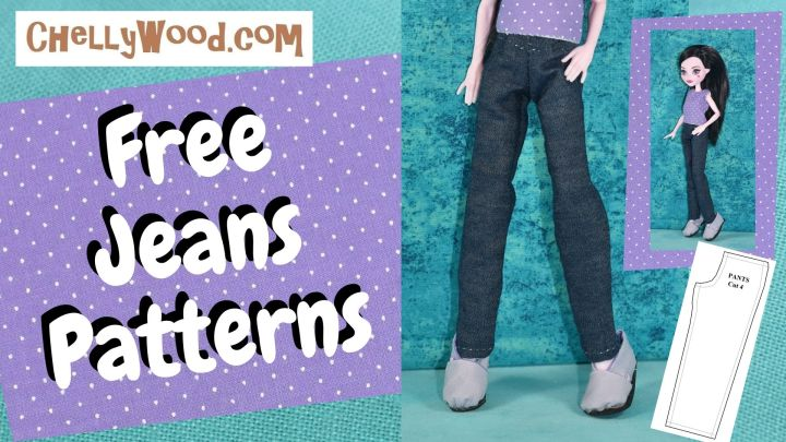 """This image shows a doll from the waist down wearing a pair of handmade jeans. The overlying text says """"free jeans pattern"""" and offers the U R L ChellyWood.com"""
