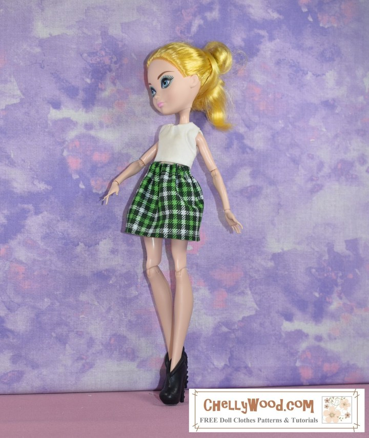 The image shows an Ever After High doll modeling a green plaid skirt and a white crop top. The watermark tells you to go to ChellyWood.com for free doll clothes sewing patterns.