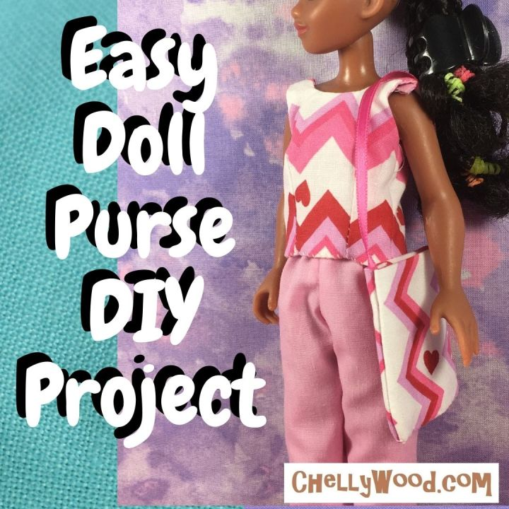 """The image shows a fashion doll holding a handmade purse. The purse is made of cotton fabric with a simple ribbon as its purse strap. The overlay says, """"easy doll purse D I Y project."""" Would you like to make this super simple purse for your fashion dolls? It fits lots of dolls in sizes ranging from eight inches tall to 12 inches tall (20 centimeters to 30 and a half centimeters tall). Click on the link in the caption if you'd like to watch the video that shows you how to make this super easy doll's purse for beginners."""