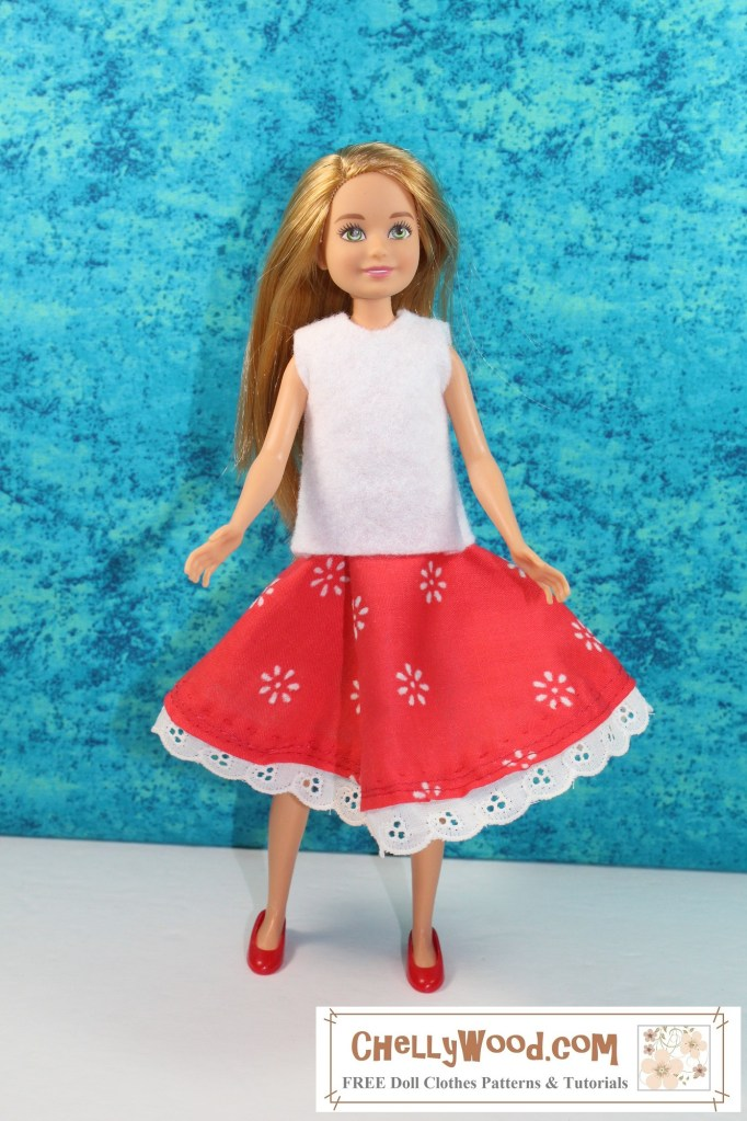 The image shows a Mattel Stacie doll wearing handmade doll clothes including a red circle skirt with eyelet trim and a white felt sleeveless shirt. Would you like to make this outfit? Please click on the link in the caption, and it will take you to a page where you'll be able to download and print free printable PDF sewing patterns for making these doll clothes to fit your 9 inch dolls like Mattel's Stacie dolls.
