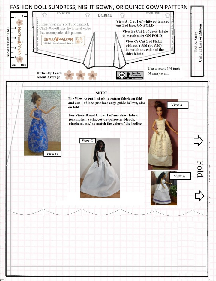 """This image shows a free printable sewing pattern for making a wedding dress, prom dress, strappy sun dress, or quinceanera dress to fit 11 inch fashion dolls like Barbie, Momoko, Spin Master Liv dolls, and similar-sized dolls. This pattern is marked with the """"creative commons attribution"""" mark, and it includes a bodice, strap measurement, and skirt measurements for three different styles of long dresses. To navigate to the free printable PDF sewing patterns, please begin at the main gallery (home) page at ChellyWood.com and navigate to the 11 inch fashion doll page. From there, you can go to modern Barbie patterns, Romeo and Juliet, or any other doll clothes gallery that suits your 11 inch doll (as long as this pattern does fit her)."""
