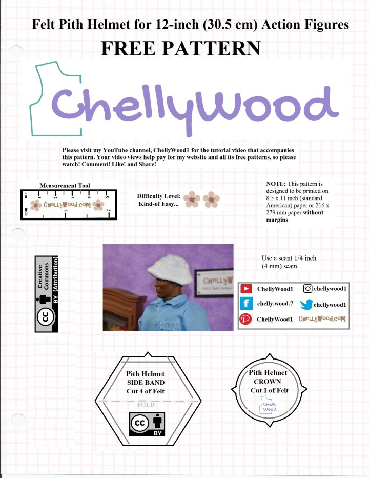 Here's a JPG image of the free PDF sewing pattern for making a felt pith helmet to fit GI Joe, Action Man, and similar 12 inch or 11 inch dolls or action figures. Visit ChellyWood.com to download the free PDF pattern for this helmet.