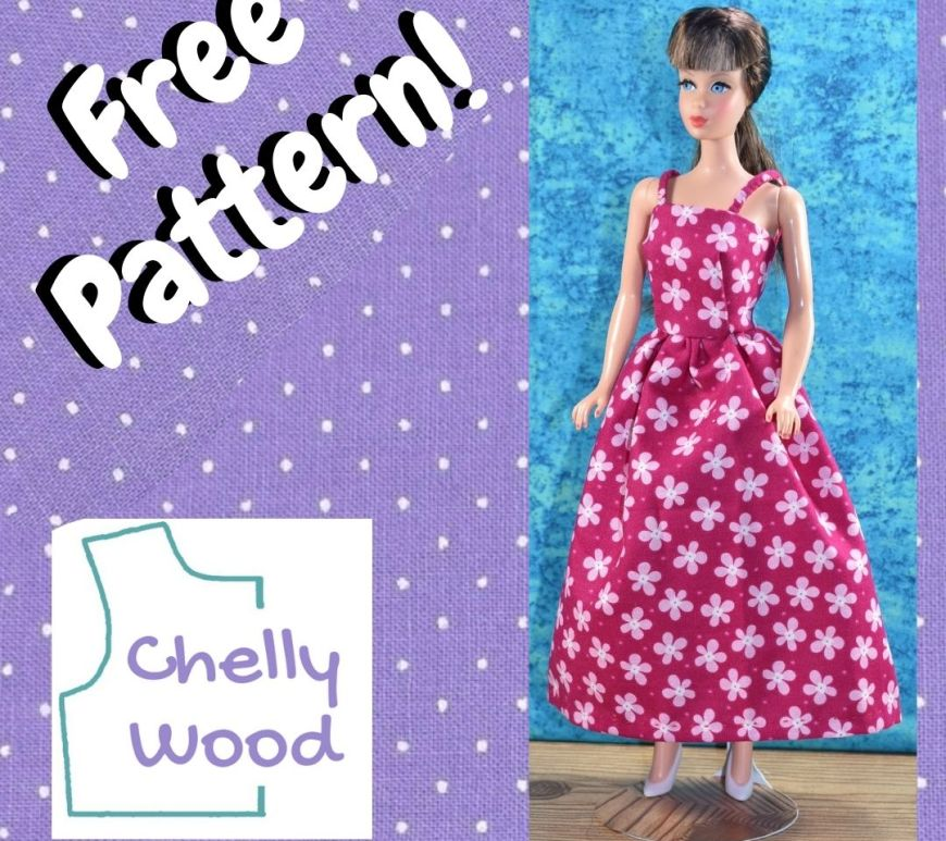 """The image shows a Vintage Barbie wearing a pink strappy sundress with white shoes. She stands on a wooden floor with a turqoise background behind her. The square shape that encloses this photo is purple with white polka dots (like a cotton dotted Swiss fabric) and the words on this background say, """"Free pattern."""" There's also a logo for ChellyWood.com on the image."""