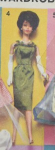 In this close up of view 5 from Sew-Easy Patterns by Advance vintage Mattel, Inc. Toymakers Barbie doll clothes sewing pattern #2895, a vintage Barbie with brunette bubble cut hair wears a satin evening gown with long white dressy gloves that form like a mitten around the hand and go all the way up to her upper arms. In one hand she carries a tiny gold purse.