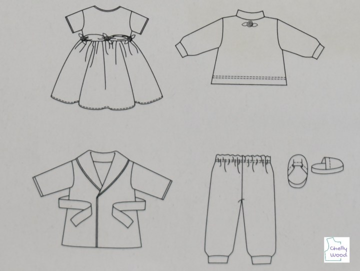 """Here we see the hand drawn images of the five pattern items offered by the See and Sew pattern B5414. They include a short-sleeved dress with round collar and gathered skirt; a mock turtleneck collar sweatshirt; a pair of sweat pants with elastic at the waist and ankles; a pair of slippers; a bathrobe with waist tie belt, folded collar, and bias tape edging. There's a watermark that says """"Chelly Wood"""" on this image, to remind us that the review for this pattern is found at ChellyWood.com"""