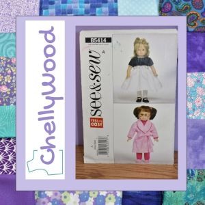 This is a pattern review for the See and Sew 18 inch doll pattern for a bathrobe, dress, and sweat pants set. The review is written by doll clothing designer, ChellyWood. The image shows the front of the original pattern, published by Butterick in 2009.