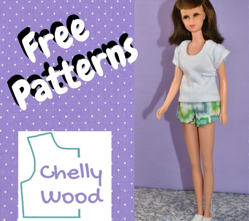 """This is a featured image for an article on Francie sized doll clothes. The article includes a free printable PDF sewing pattern and special instructions for making a T shirt and a pair of shorts with an elastic waist, to fit Francie and other dolls her size. The featured image says, """"free patterns"""" and includes the name """"Chelly Wood,"""" who designs and publishes free printable PDF sewing patterns for making doll clothes to fit dolls of many shapes and all different sizes."""