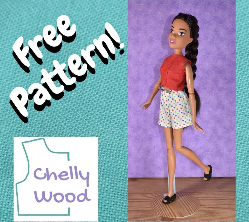 """This is a turquoise-background square featured image with the words """"free pattern"""" in white with a drop-shadow over the top of the new logo for ChellyWood.com, and this square features a photo of a 17 inch Barbie doll wearing handmade shorts and a crop top."""