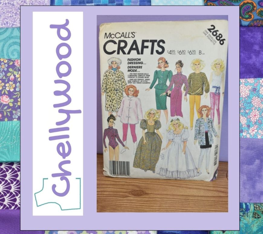 The image shows a vintage McCalls Craft Pattern number 2686 which offers Barbie sized doll clothes including coats and jackets, prom dresses, and business as well as casual wear.