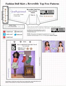 """This is the JPG image of the free printable PDF sewing pattern for making a reversible tank top and elastic waist skirt for 11 inch fashion dolls. This pattern includes a """"cut on fold"""" skirt pattern, a bodice, and a strap pattern for dolls that are 11 to 11 and a half inches tall (like Barbie). It's marked with the ChellyWood.com logo and the Creative Commons Attribution mark."""