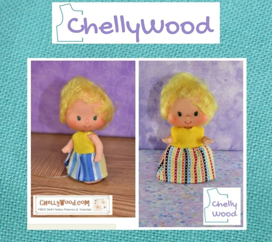 The image shows two different photos of the toddler dolls from the vintage Kenner Strawberry Shortcake doll collection. These dolls are wearing handmade dresses. One is a sundress with straps; the other is a long dress with short sleeves. The watermark reminds us that the doll clothes patterns for making these dresses are free and printable at ChellyWood.com