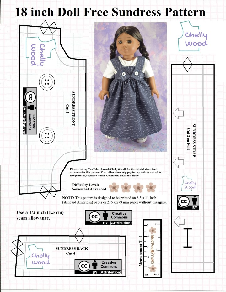 Here we see the American Girl Kaya doll wearing a handmade pinafore style sundress, and the photo is embedded in a partial pattern for the pinafore itself. To access the free printable PDF sewing pattern version of this dress, please go to ChellyWood.com