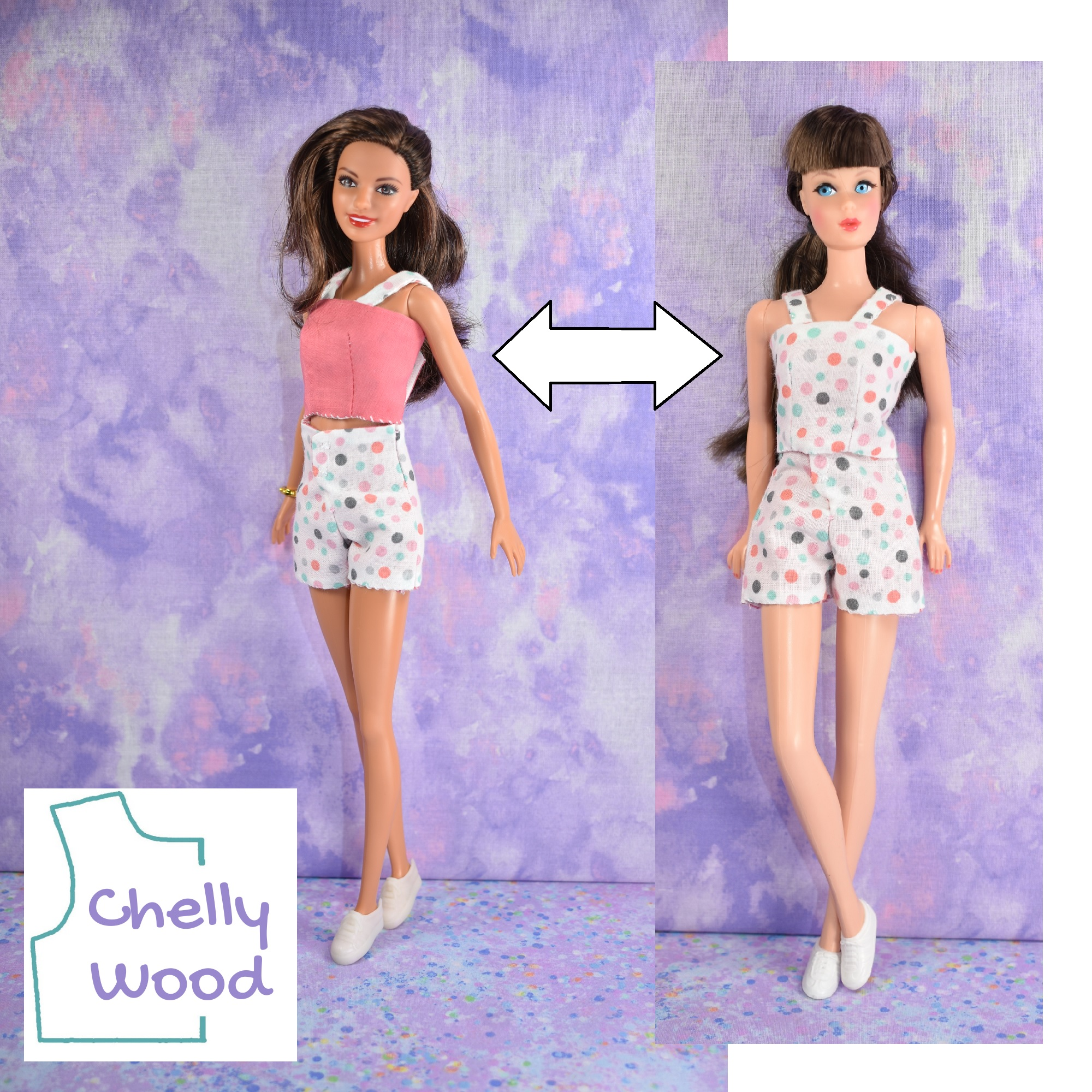 The image shows a Tall Barbie wearing the salmon-colored side of the reversible tank top with polka dot high-waist, fly front shorts. An arrow connects her to the image of a vintage Barbie wearing the polka dot side of the reversible tank top with the same high-waist, fly-front polka dot shorts. The watermark reminds us that these images come from ChellyWood.com, a website best known for offering free printable PDF sewing patterns for making doll clothes to fit dolls of many shapes and all different sizes. If you'd like the free doll clothes patterns for making this reversible tank top with high-waist fly front shorts to fit your 11 inch fashion dolls, please click on the link in the caption.