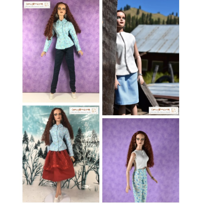 This is a screenshot of the gallery of free doll clothes sewing patterns you can download for free at Chelly Wood dot com. It includes a set of pajamas for 16 to 17 inch Tonner dolls, a Christmas skirt and long sleeved shirt, a pair of jeans with business jacket, and a pencil skirt with sleeveless blouse. These free printable sewing patterns will fit most dolls designed by Robert Tonner for the 16 to 17 inch dolls in his various doll lineups, like Tyler Wentworth, Maxine, Sydney, Ellowyne Wilde, Cami dolls, Sydney Chase, Antoinette, etc...