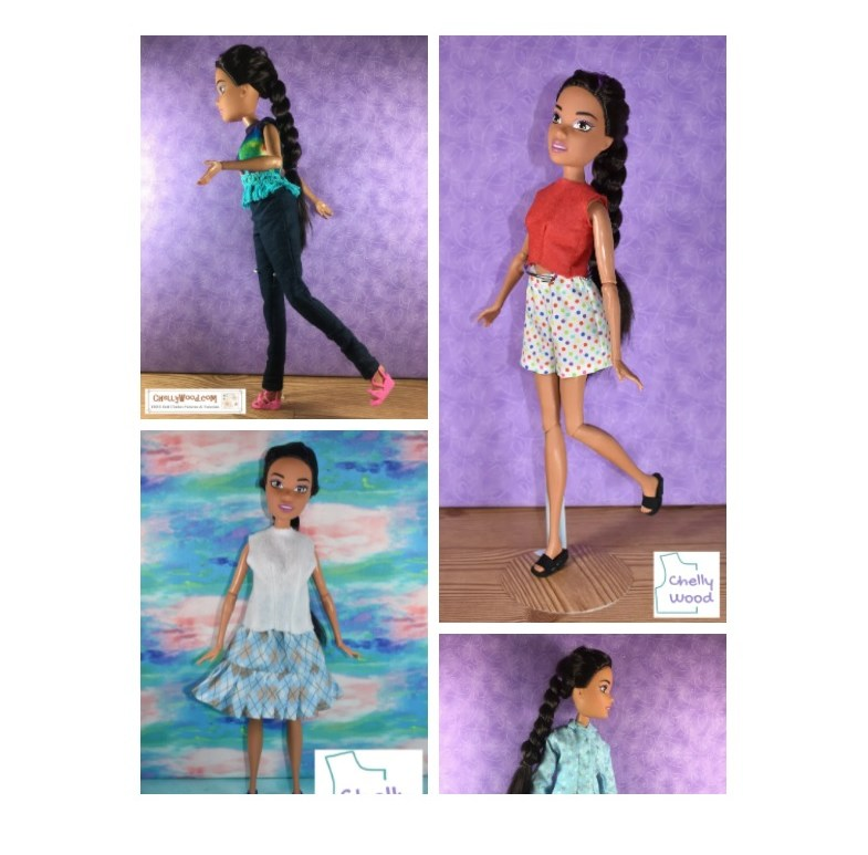 In this screenshot, we see a 17 inch Barbie modeling several different doll clothes that are offered on Chelly Wood dot com, a free doll clothes pattern sewing website. 17 inch Barbie models jeans, shorts, shirts, a skirt, and a jacket in various combinations and fabrics.