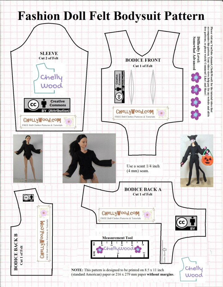 """The image shows a pattern for a body suit with long sleeves that's designed to fit an 11 inch fashion doll like Mattel's Barbie or the Queens of Africa dolls or similar sized dolls. The image shows that the pattern is marked with a """"Creative commons Attribution"""" symbol, meaning that you can share this pattern with people online, but you must also tell where the pattern came from. The logo for Chelly Wood dot com also appears on the pattern."""
