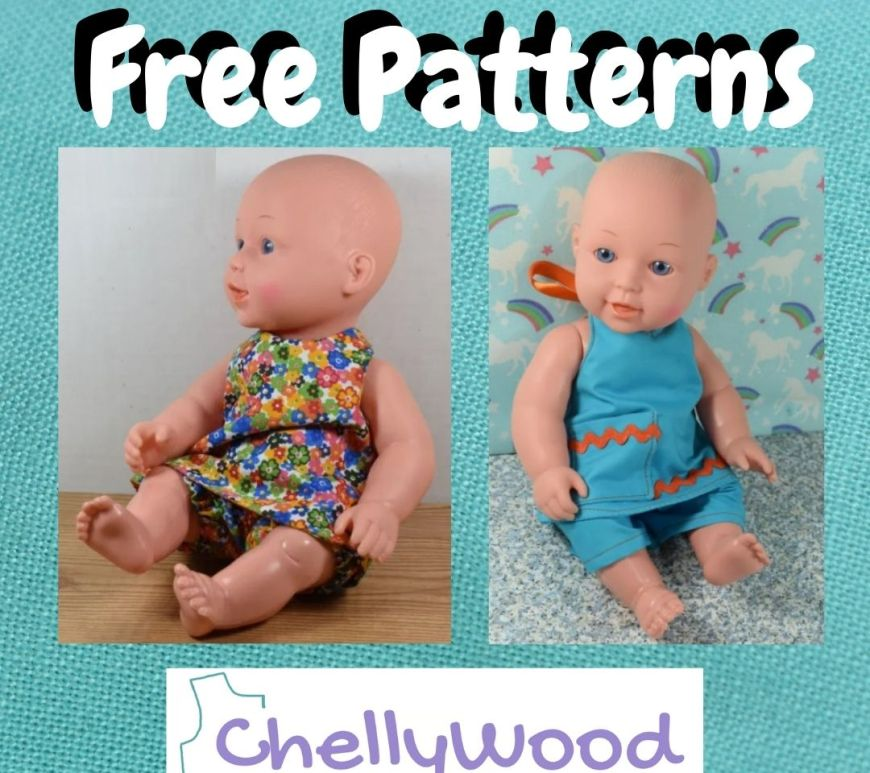 The turquoise blue frame surrounds two different photos: one of a 12 inch baby doll wearing a halter dress with bloomers and the other showing a 12 inch baby doll wearing a halter top with shorts. The watermark reminds us to visit Chelly Wood dot com for free printable PDF sewing patterns for making these doll clothes for baby dolls.