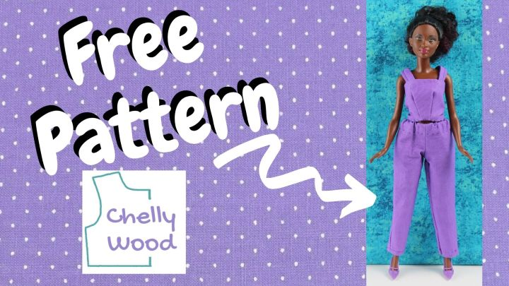 """This image shows a Petite Barbie modeling handmade pants and a handmade tank top with the words """"free pattern"""" pointing to the doll. The logo on this image reminds us to visit ChellyWood.com for free printable sewing patterns for making doll clothes to fit dolls of many shapes and all different sizes, including the outfit of doll clothes shown here."""