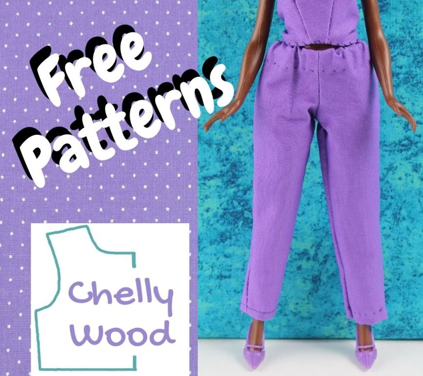 """This is a square swatch of purple dotted Swiss fabric with the words """"free patterns"""" and the Chelly Wood dot com logo on it, overlapping a photo of a fashion doll standing in front of a turquoise blue background wearing purple high heels and purple elastic-waist pants that taper to the ankle. you can see the lower half of the doll's shirt in the photo, but you can't see her face. However, it's likely a Barbie or Petite Barbie pictured here."""