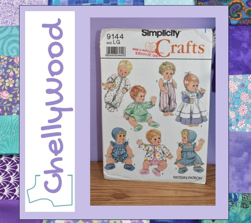 A quilted frame surrounds the Chelly Wood website logo and Simplicity doll clothes craft pattern number 9144, published in 1989.