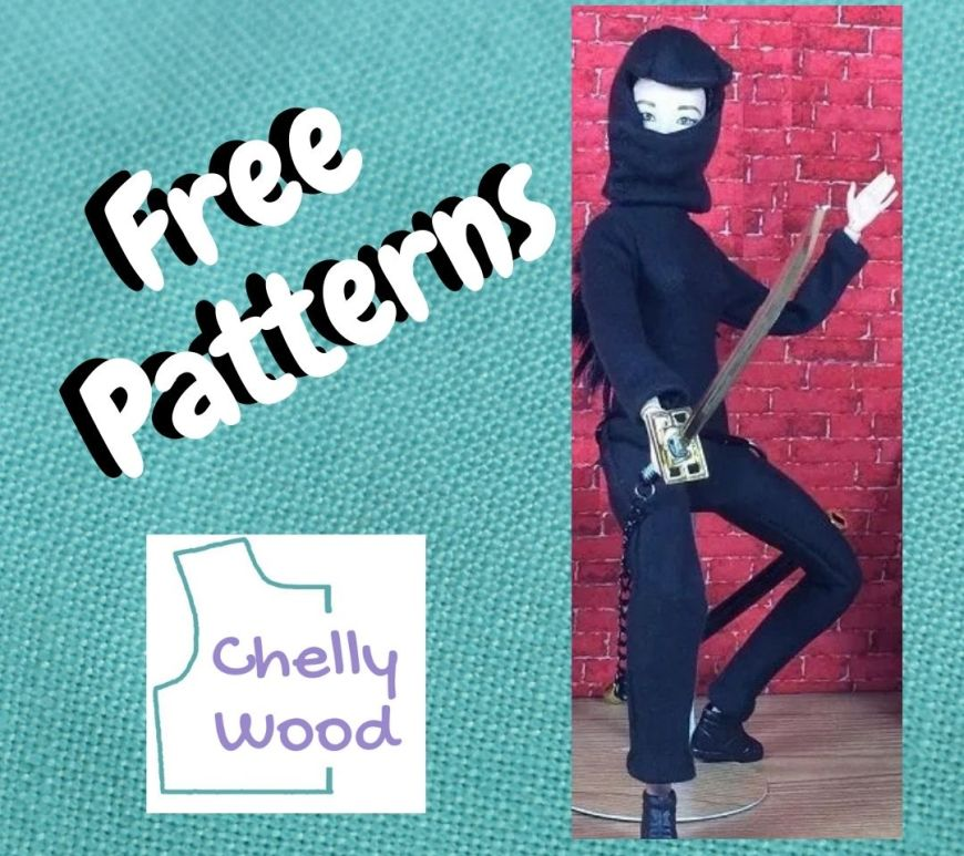"""The image shows turquoise blue linen fabric in a square shape behind the words """"free patterns"""" and the ChellyWood.com logo. Alongside these words is a photo of a Made to Move Barbie wearing a handmade ninja costume with mask. She carries a katana (a Japanese sword) with a sheath around her waist."""