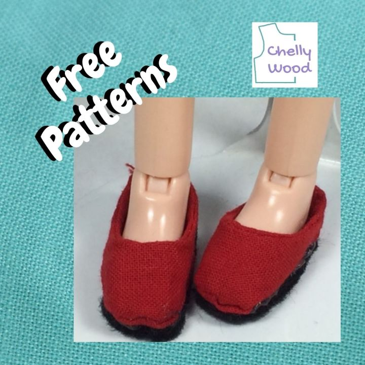 """The image shows a pair of doll's feet wearing a pair of red cloth flat shoes with black soles. Overlay says, """"free patterns"""" and has the ChellyWood.com logo in the corner."""