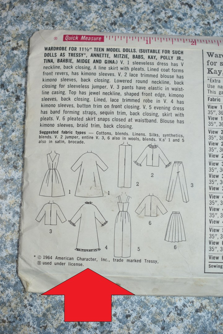 """This is the back of Simplicity 5731 doll clothes pattern. It shows the sketches of each outfit in the wardrobe, and a red arrow points to the words, """"1964 American Character. Inc., trade marked Tressy (registered trademark symbol) used under license."""""""