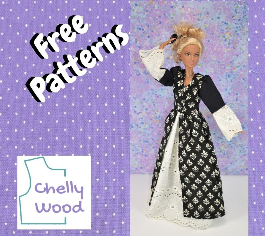"""A purple dotted Swiss fabric frame surrounds the image of a Barbie doll in a princess dress with the words """"free patterns"""" and the ChellyWood.com logo"""