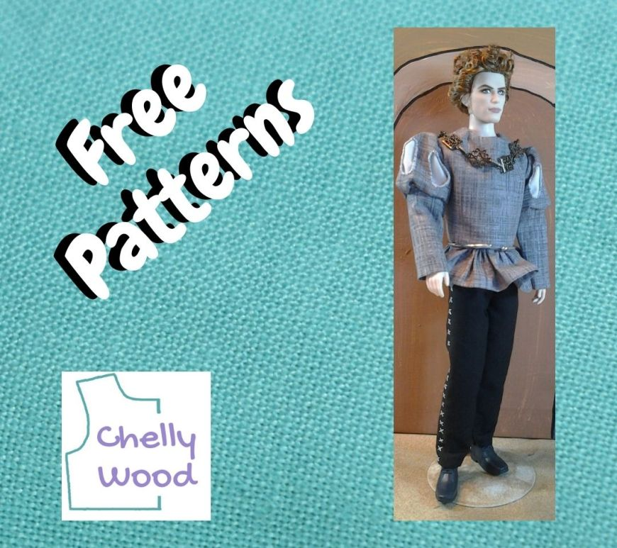 """The image shows a blue linen background with the Chelly Wood logo in one corner, the words """"free patterns"""" in another corner, and along one side of the square image is a photo of a Twilight Jasper doll modeling a Renaissance doll clothes costume that's handmade, following the patterns and instructions found as a free printable PDF sewing pattern at ChellyWood.com"""