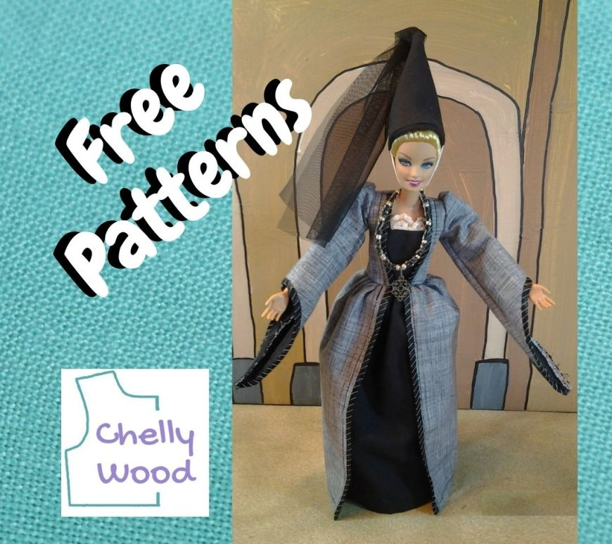 """On a turquoise blue linen background, a Mattel Barbie doll takes a bow, wearing a princess dress with long puff sleeves and a pointed cone-shaped Renaissance-style hat with a veil streaming down from the point of the hat. In front of the photo, it says, """"free patterns"""" and in one corner of the image, we also see the Chelly Wood logo."""