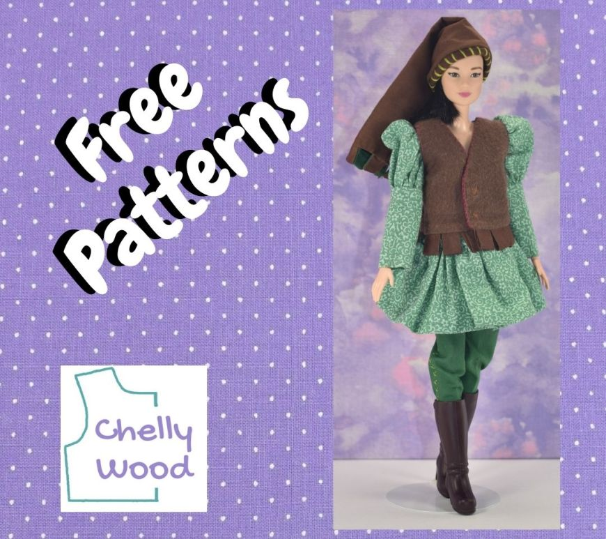 """This purple polka dot frame surrounds the words """"free patterns"""" and the ChellyWood.com logo, along with a photo of a Made to Move Barbie wearing full Renaissance garb, including a vest, tunic, hat, pants, and boots."""