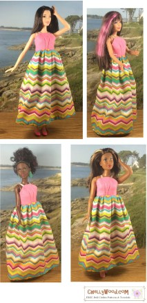 Click here to find all the patterns and tutorials you'll need to make this project: https://chellywood.com/2016/08/18/easy-sewing-projects-for-beginners-universal-dress-fits-many-dolls-for-crafty-moms/