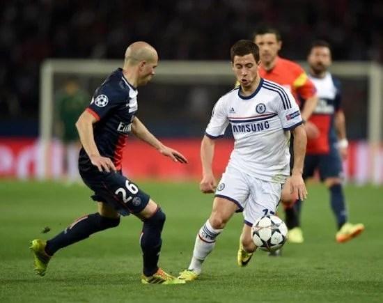 Hazard durante a partida contra o Paris Sant Germain (Foto: Chelsea FC)