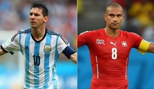 Messi e Inler são os capitães dos selecionados (Foto: Rede Globo)