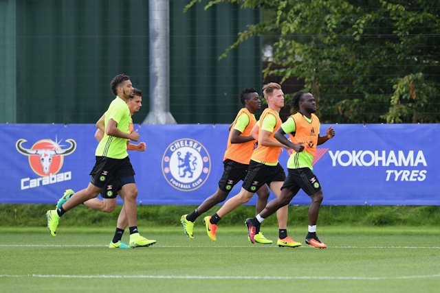COBHAM, ENGLAND - JULY 12: Bertrand Traore, Michael Hector, Matt Miazga, Tomas Kalas, Victor Moses at Chelsea Training Ground on July 12, 2016 in Cobham, England. (Photo by Darren Walsh/Chelsea FC via Getty Images)
