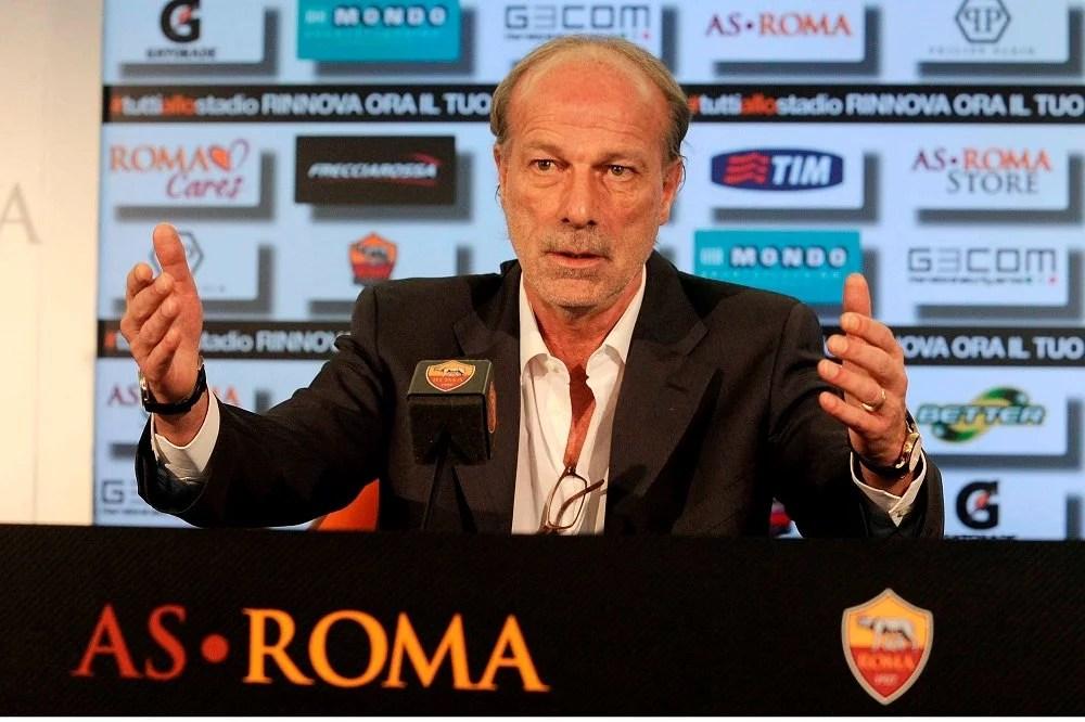 Walter Sabatini em entrevista coletiva pela Roma (Foto: Divulgação/site oficial da Roma)