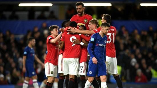 Jogadores do United comemorando