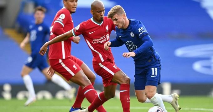 Werner, atleta do Chelsea, contra o Liverpool