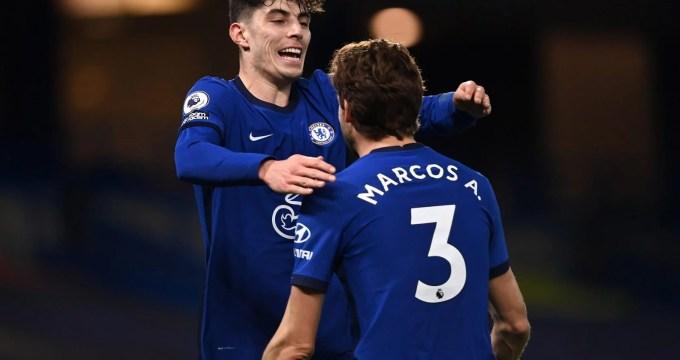 Havertz e Alonso comemoram gol do Chelsea