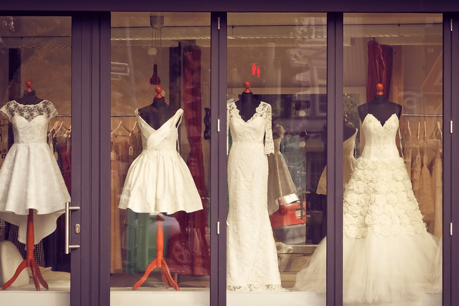 Iowa wedding - Bridesmaid Dresses in a store front window