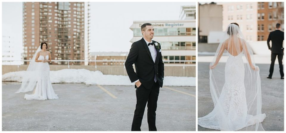Rooftop first look in Des Moines - Iowa Events Center Wedding Travelers Sign Rooftop photos