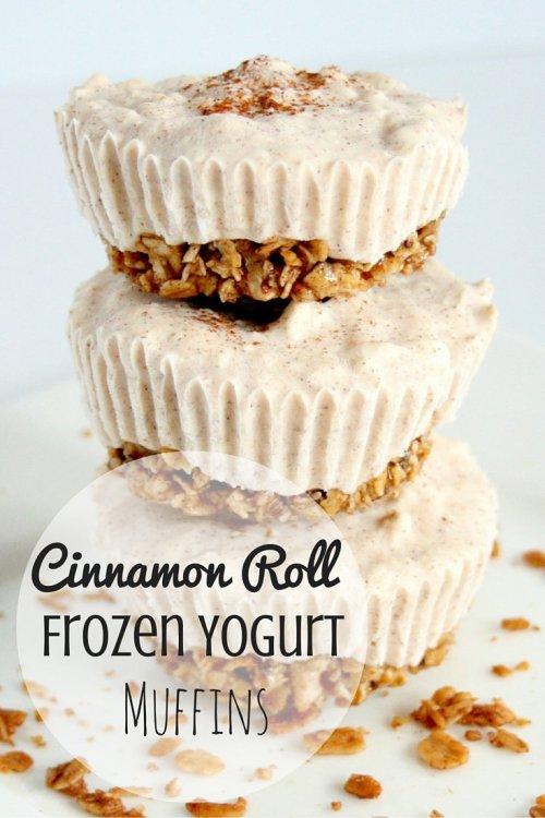 Cinnamon Roll Frozen Yogurt Muffins