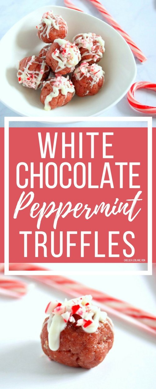 The holidays are officially here! Make these protein packed, no bake white chocolate peppermint truffles for your next cookie exchange or holiday event. #thereciperedux