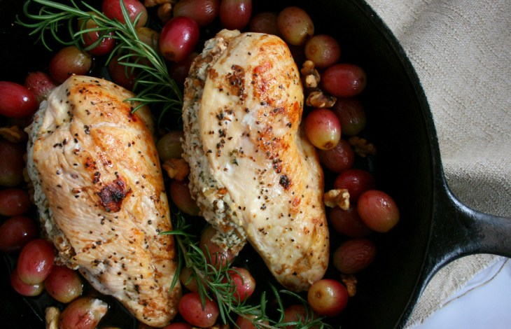 Stuffed Chicken Breast with Grapes, Goat Cheese, and Walnuts